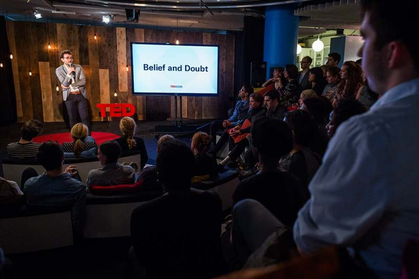 Why do we believe the things we believe? Last night's event in the TED office explored this theme. Photo: Ryan Lash